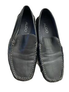 aldo black leather dress casual slip on loafers shoes men