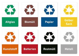 Details Zu Recycling Aufkleber 8er Sets Müll Abfall Sticker Verschiedene Motive Mülltonne