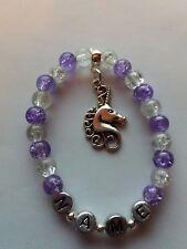 Personalised Unicorn Purple Charm Beaded Bracelet Girl Birthday Gift Party Bags