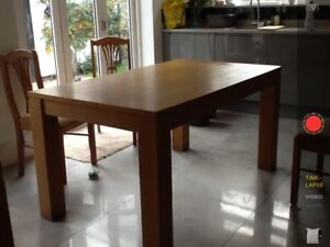 Used Solid Oak Dining Table And 4 Chairs Good Condition Extendable