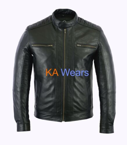 Mens Biker Leather Jacket Brando Classic Motorbike  Motorcycle Retro Vintage Zip