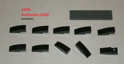4251161 Brick 50950 10x LEGO NEW 1x3 Black Slope Curved