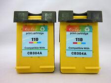 2PK 110 Tri-Color Ink Cartridge for HP PhotoSmart A826 A820 A716 A640 A630 A610