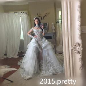 Lace Mermaid Luxury Crystal Wedding Dress Bead Detachable Skirt ...