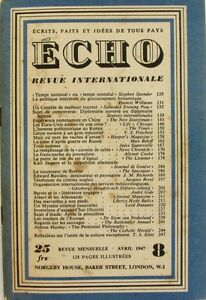 Echo N°8 - 1947 - Revue Internationale - Karl Jaspers - L'homme Préhistorique Une Gamme ComplèTe De SpéCifications
