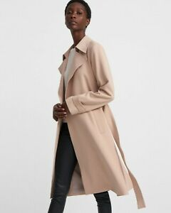 NWT Theory Oaklane CL Admiral Crepe Trench Coat, Nude