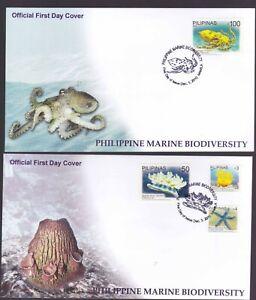 Philippines 2010 Marine Biodiversity Octopus, Jelly Fish,  2 High Value FDC