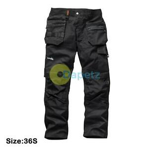 Scruffs-Noir-Commerce-Flexible-Slim-Fit-Pantalon-Travail-Mens-Resistant-Size-36