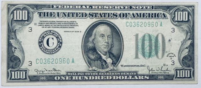 1934-D $100 Federal Reserve Note Philadelphia FR #2156-C Clark & Snyder