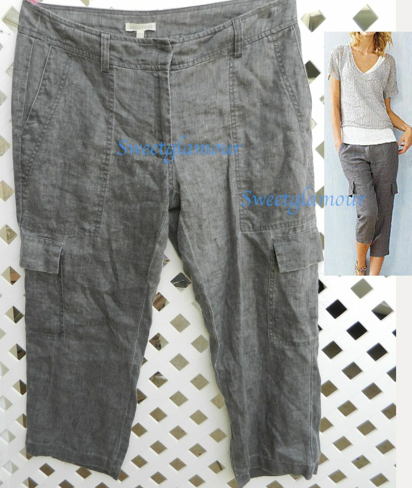 198 Eileen Fisher Dapple Rustic Tinted Linen Dapple Cropped Capri Cargo Pants