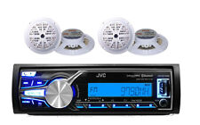 "New JVC Marine AM/FM USB AUX iPod Input Bluetooth Stereo, 4 White 5.25"" Speakers"