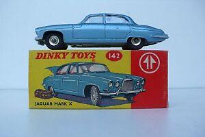 Dinky Toys Gb Jaguar Mark X Ref 142 1962 Très Bon État Boite D'origine