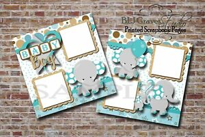 Baby-Boy-Elephants-2-PRINTED-Premade-Scrapbook-Pages-BLJgraves-8