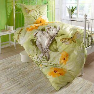 fleuresse satin bettw sche 113376 5 papagei schmetterling gr n orange 135x200 cm ebay. Black Bedroom Furniture Sets. Home Design Ideas