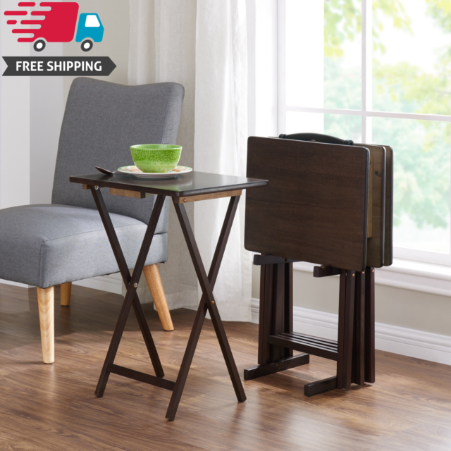 Tv Side Table.5 Piece Folding Tv 4 Tray Stand Set Wood Dinner Walnut Side Table Easy Clean