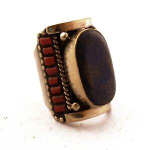 Lapis-Coral-Rings-9-034-Tibetan-Nepalese-Ethnic-Handmade-Nepal-RG149