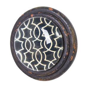 Image Is Loading Vintage Look Black Amp White Pattern Metal Glass