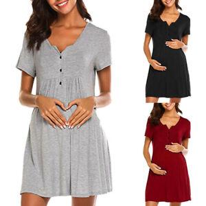 Women-Pregnancy-Maternity-Nursing-Summer-Casual-Solid-Short-Sleeve-Dress-Clothes