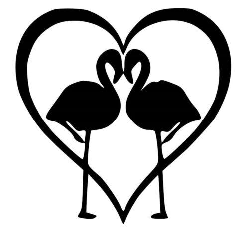 Flamingo Heart Car Decal Sticker