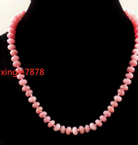 "Pretty 5x8mm Naturel Rose Rhodochrosite Blotter Gemmes Perles Collier 20/"" Aaa"