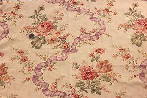 Antique-French-Linen-HF-Pretty-Rose-amp-Ribbon-Textile-Piece-c-1890-23-034-L-X-32-034-W