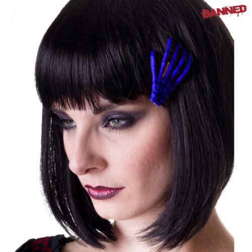 BANNED Skeleton Hand Hair Clip blue Skelett Rockabilly Haarspange Gothic NEU