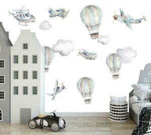 Airplane-Hot-air-balloon-Wall-Decal-Nursery-Decor-Boys-Removable-Sticker-Kid-Art