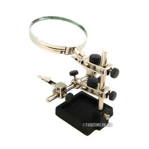 HELPING-3RD-HAND-MAGNIFIER-3-5-034-MAGNIFYING-GLASS-JEWELLERY-SOLDERING-CLAMP-STAND