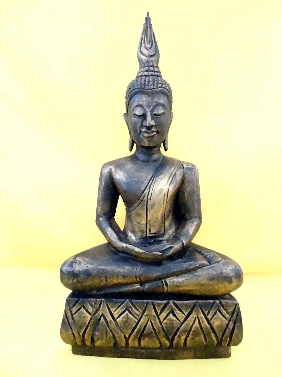 ASIEN Buddha Holz Holz Holz Unikat  Dekoration Kunst Tempel Skulptur Geschenk Buddhismus 95b068