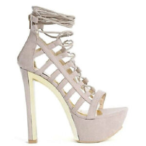 17dc48e8667 Details about Liliana Taupe Lace up Open toe Chunky Heel Pump Women's Shoes  Tanya US sz.7