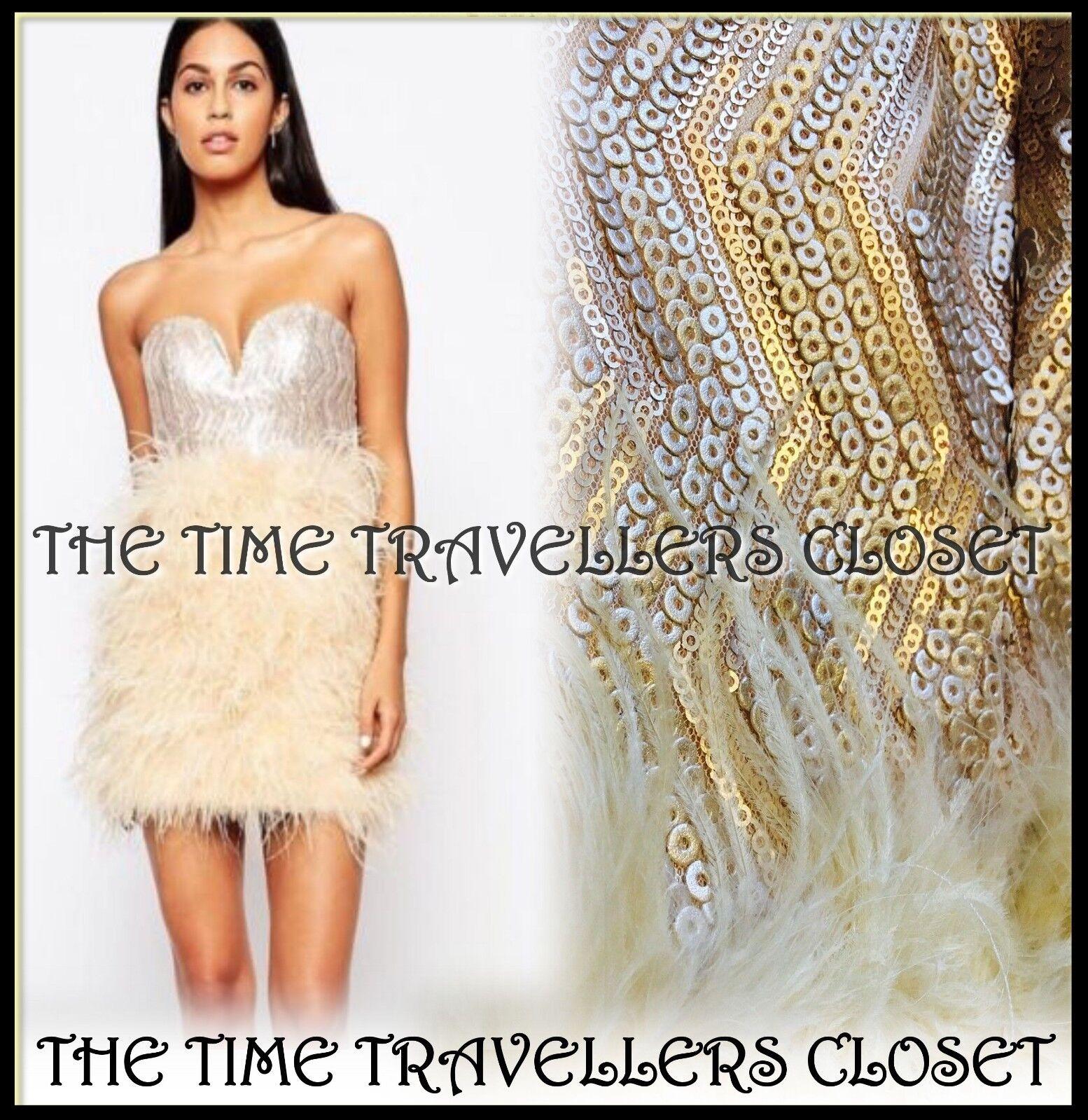 BNWT RARE OPULENCE Topshop Nude Ostrich Feather Sequin Corset Mini Dress UK 6