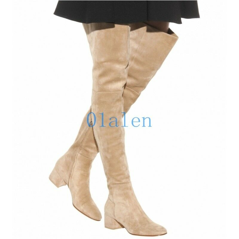 01 Hot Womens Vintage Over The Knee Boots High Heel Block Formal Party Shoes New