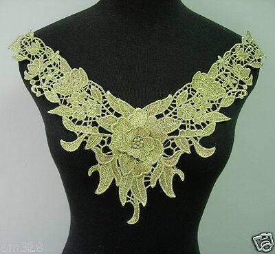 VK250 Trendy Floral Collar Metallic Gold  Lace Trim Venise Applique Motif