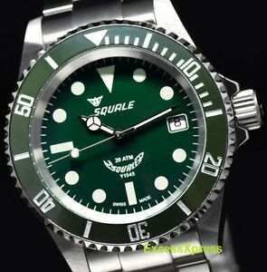 New Squale Y1545 20 Atmos Mint Green Ceramic Watch Warranty Swiss Made MK III