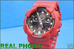 GA-100B-4A-Red-Casio-Unisex-Watches-G-Shock-Analog-Digital-200M-WR-Resin-Band