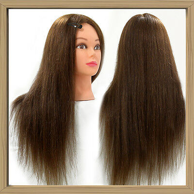 """22"""" 100% Salon Long Hair Real Human Training Hairdressing Mannequin Head + Clamp"""