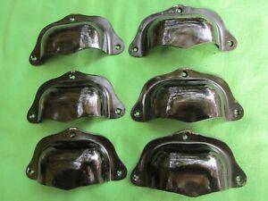 6 poignées coquille fer peint noir tiroirs meuble cuisine classeur