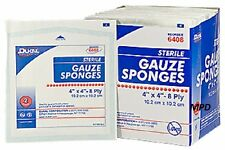 "100 BRAND New STERILE 4"" X 4"" 8 ply GAUZE DRESSING SPONGES PADS 100/BOX"