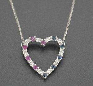 #JN190 NEW 10K White Gold Ruby and Blue Sapphire w/ Diamond Accents Necklace