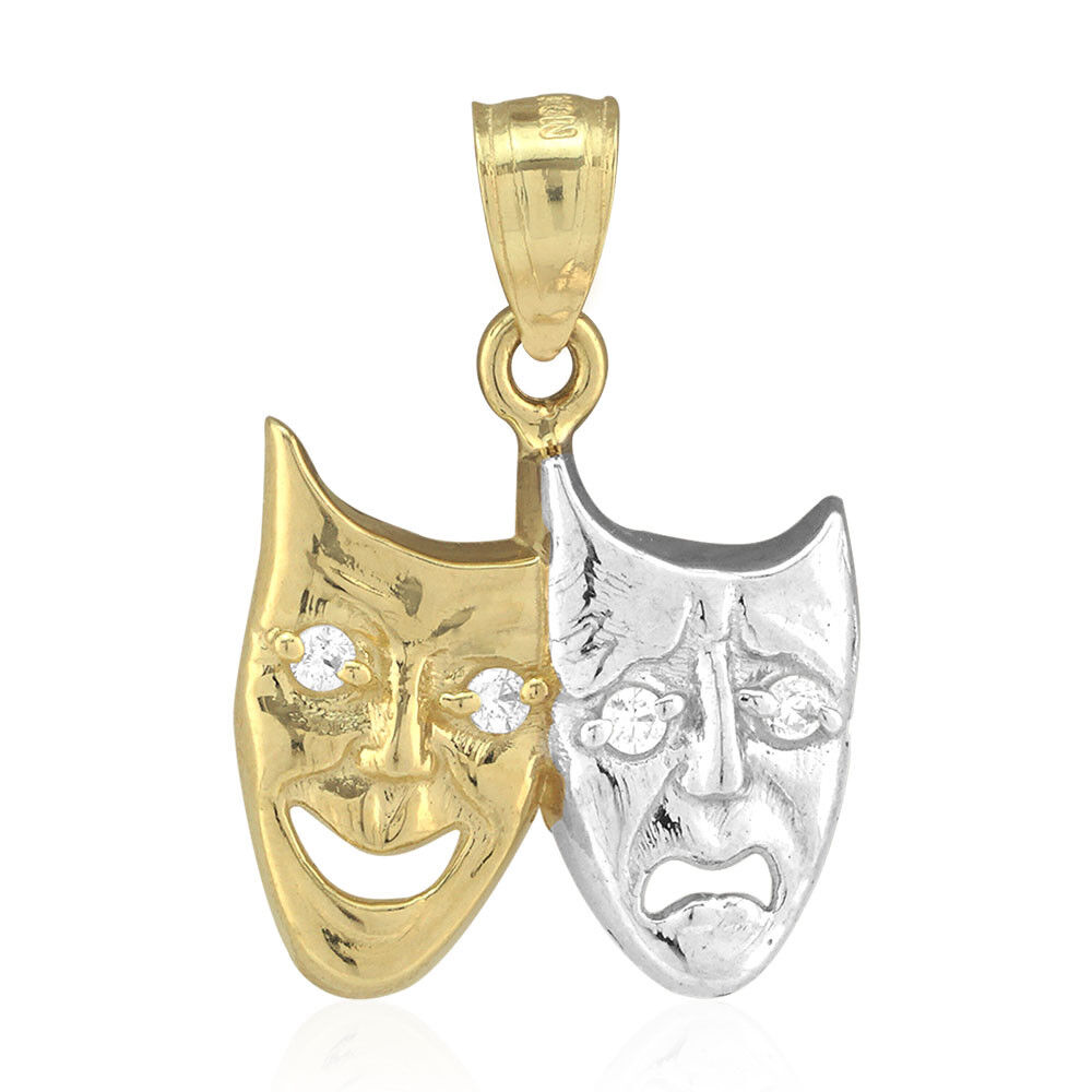 10k Yellow & White gold Comedy & Tragedy Mask Pendant 0.90
