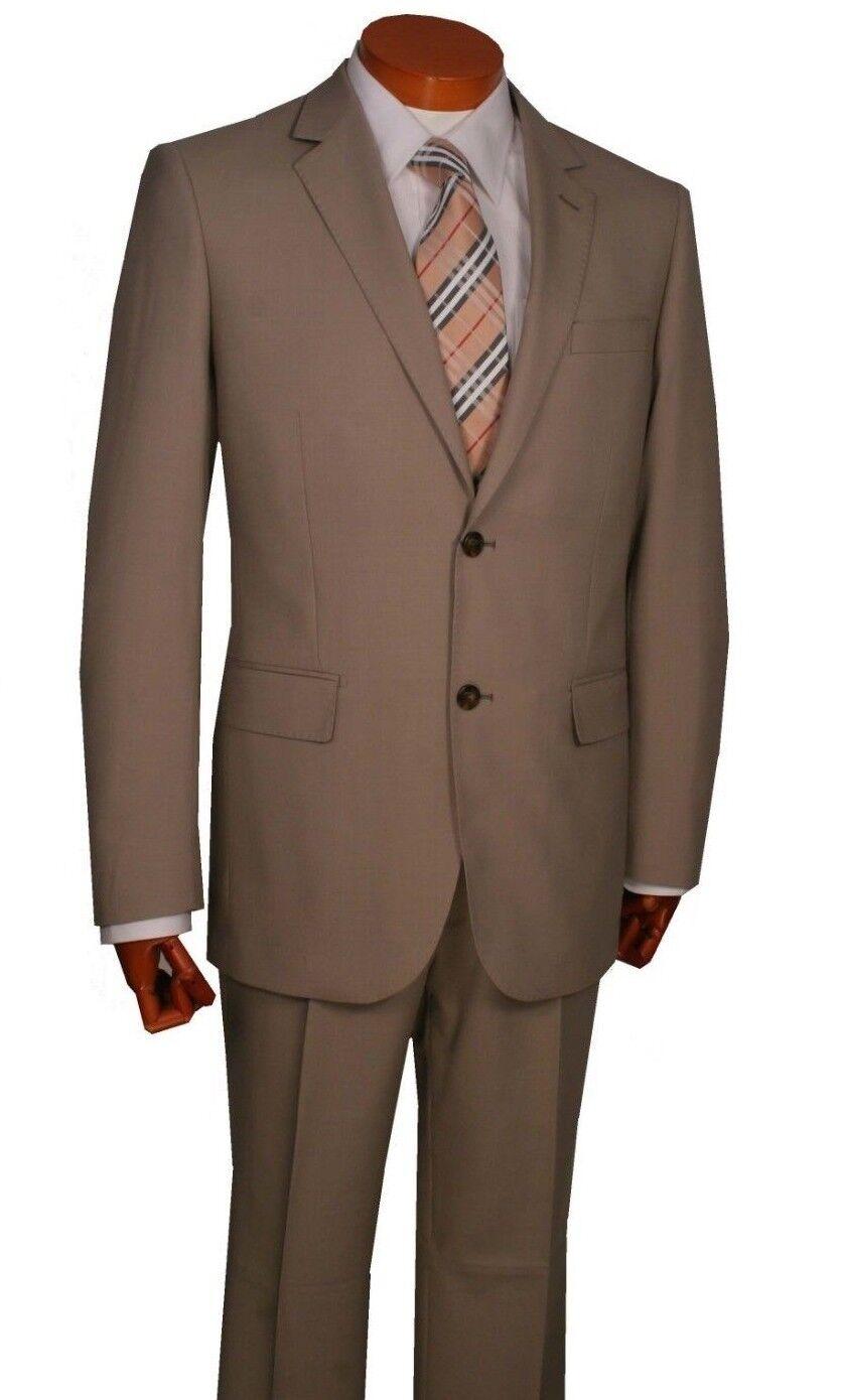 Men's Suit ,100% Wool 2 button Flat Front Pants Modern Fit Art.1012V221 Col. Tan