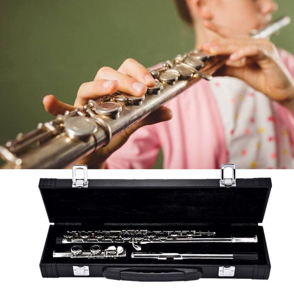 Konzert Querflöte Neusilber 16 Löcher Flöte Satz mit Schwarz Koffer und Zubehör