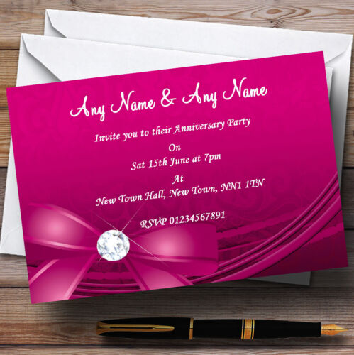 Pink Bow And Diamond Wedding Anniversary Party Personalised Invitations