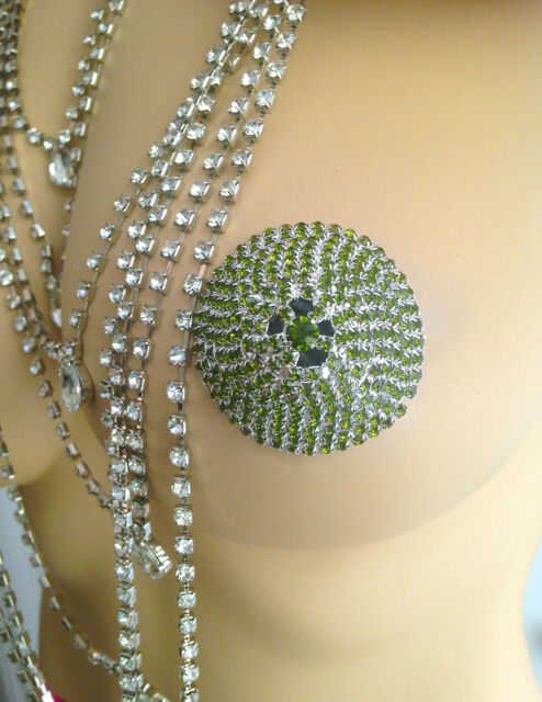 rhinestone nipple pasties lingerie jewel body jewelry Green burlesque showgirl
