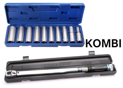 """Drehmomentschlüssel 1//2/"""" Zoll 70-350 Nm 10 Steckschlüssel 1//2/"""" Zoll 10-24mm"""