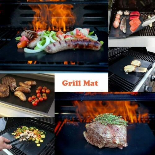 Details about  /BBQ Grill Mat 2 Non Stick Reusable Grill Mats to Make Grilling Easier