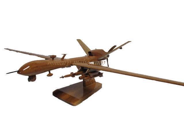 USAF MQ-9 REAPER PREDATOR B HUNTER KILLER DRONE UAV WOOD WOODEN MAHOGANY MODEL