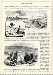 Klagende Weiber an den Gräber im Thal Josaphat * Siloah* Originalblatt von 1884