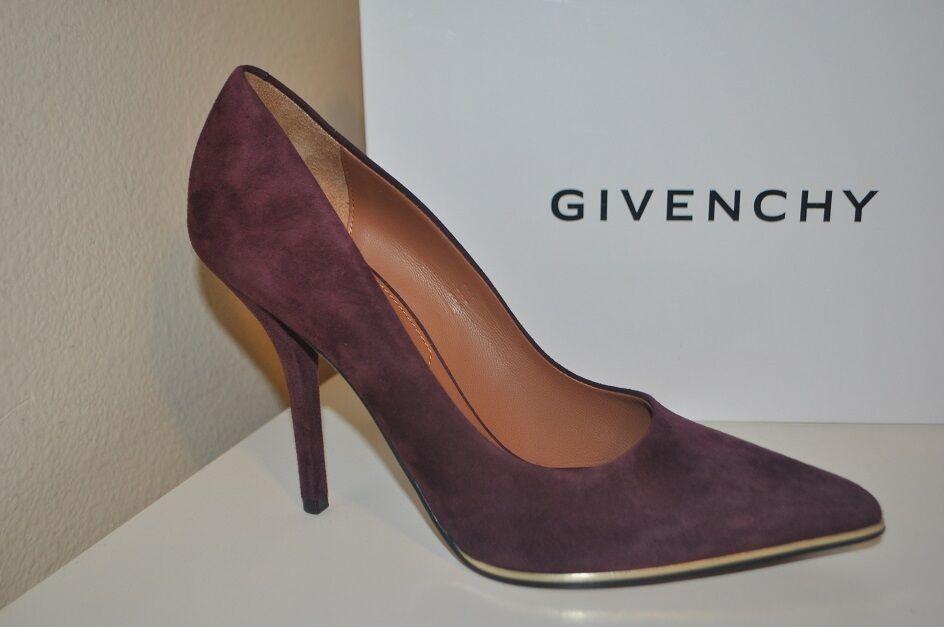 vendita calda online NIB Givenchy 10.5 Plum viola Suede Pointy Toe Pump Heel Heel Heel scarpe oro Detail 40.5  marchio in liquidazione