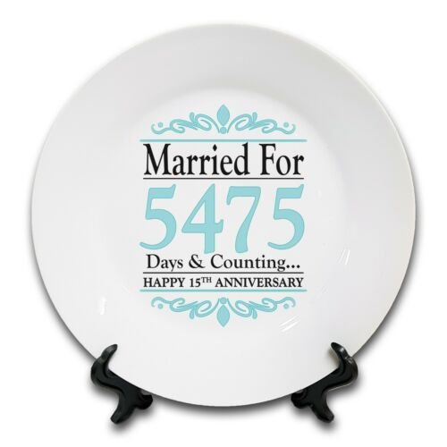 """1st - 70th 8/"""" Married For..Days /& Counting.. Anniversary Novelty Ceramic Plate"""
